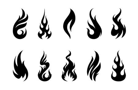 흰색 배경에 다른 화재 셰이프 집합입니다. 일러스트