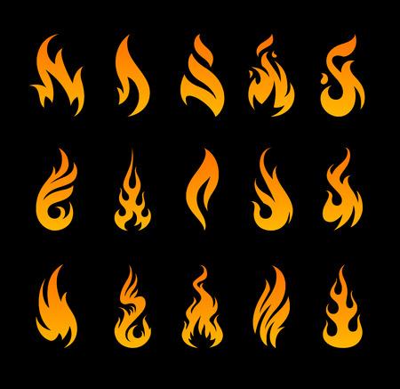 벡터 화재 아이콘입니다. 검은 배경에 다른 화재 셰이프 집합입니다.