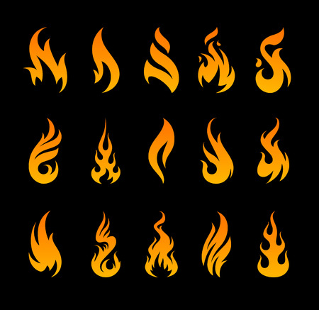 Vector Fire Icons. Set of different fire shapes on black background.
