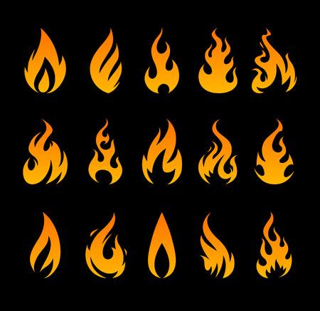 ベクトル火アイコン。黒の背景に別の火災の図形をセットします。
