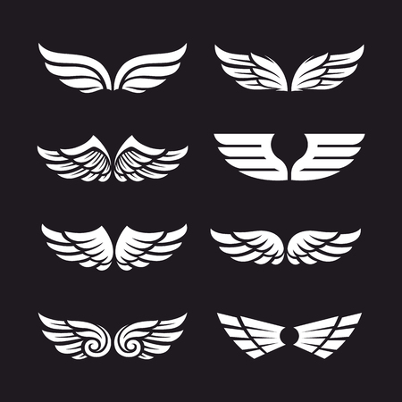 Ensemble de différents ailes vectorielles isolé sur fond sombre. vecteur balance vecteur des icônes de l & # 39 ; aile Banque d'images - 88324476