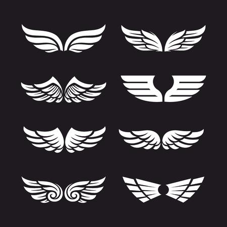 Set van verschillende vector vleugels geïsoleerd op donkere achtergrond. Vector vleugelvormen. Wing pictogrammen. Stock Illustratie