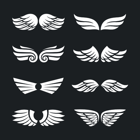 Ensemble de différents ailes vectorielles isolé sur fond sombre. vecteur balance vecteur des icônes de l & # 39 ; aile Banque d'images - 88324477