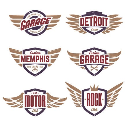 Set of retro emblems with wings. Stylish and brutal emblems for rock, biker, custom garage theme. Vector emblem templates. Çizim