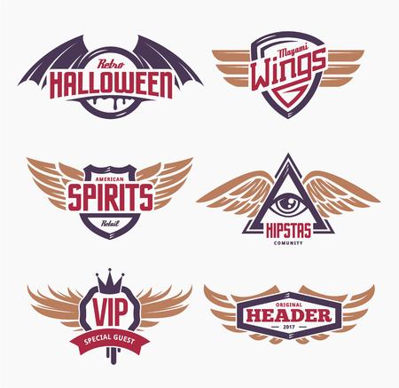 Set van retro emblemen met vleugels. Verschillende stijlvolle emblemen met vleugels op witte achtergrond. Vintage embleem sjablonen. Stock Illustratie