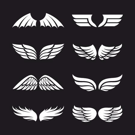 Satz verschiedene Vektorflügel lokalisiert auf dunklem Hintergrund. Vektorflügelformen. Flügelikonen. Standard-Bild - 88841133