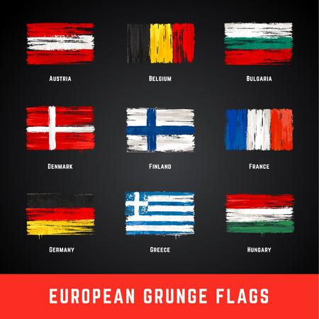 グランジスタイルで描かれたヨーロッパの旗の一部のコレクション