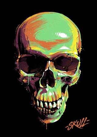 Bright graffiti illustration of skull vector illustration