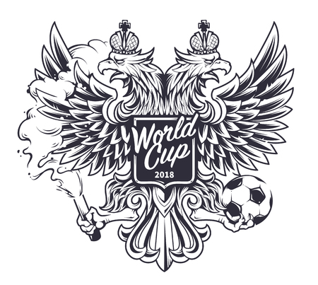 Welcome to Russia vector illustration. Russian national symbol two-headed eagle with football fan attributes: fire and ball. Soccer fan emblem. Monochrome version.