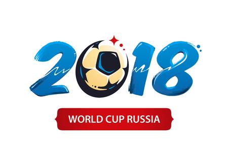 サッカーカップ2018アイコンデザイン。ブラシは抽象的なサッカーボールの形で2018を描きました。
