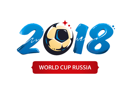 Football cup 2018 icon design. Brush painted 2018 with abstract soccer ball shape.