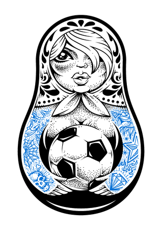 古い学校の入れ墨を持つロシアの伝統的な人形マトリョーシカは、彼女の手にサッカーボールを保持しています。ドットワークスタイルベクトルイ