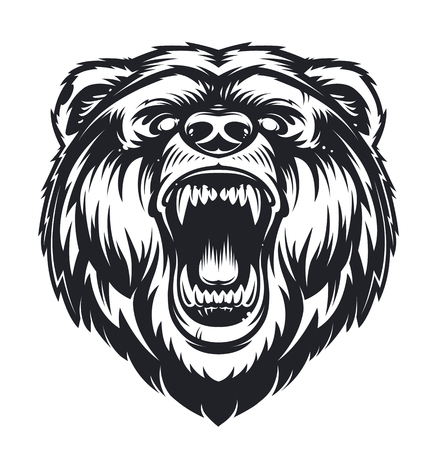 Vector Roaring Bear isolated on white background. Furious bear head. Bear silhouette. Tattoo art style. Vettoriali