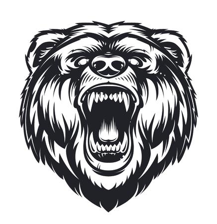 Vector Roaring Bear isolated on white background. Furious bear head. Bear silhouette. Tattoo art style. Stock Illustratie