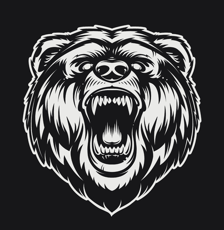 Vector Roaring Bear isolated on black background. Furious bear head. Bear silhouette. Tattoo art style.