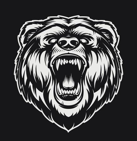 Vector Roaring Bear isolated on black background. Furious bear head. Bear silhouette. Tattoo art style.