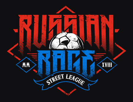 Russian Rage Typography. Vector emblem with soccer ball. Grunge style football emblem. Vettoriali