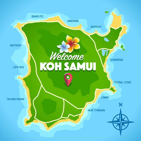 Koh Samui Thailand island artistic map with typography 'Welcome Koh Samui' and names of beaches. Fresh colors vector art.