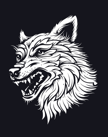 Wolf head in hat. Old school tattoo style illustration. Vector art.
