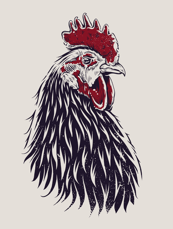 Vector Rooster Illustration. Engraving style cock.  Çizim
