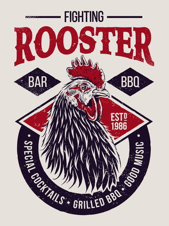 Fighting Rooster Design. Retro styled design template with engraving cock art. Vintage print design. Colored version.