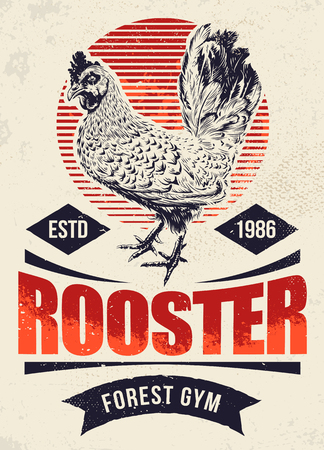 Fighting Rooster Design. Retro styled design template with engraving cock art. Vintage print design. Standard-Bild - 100055104