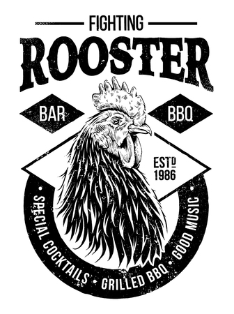 Fighting Rooster Design. Retro styled design template with engraving cock art. Vintage print design.