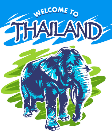 Fresh and bright design with elephant and text Welcome to Thailand. Blue elephant on abstract green background. Vector design. Illustration