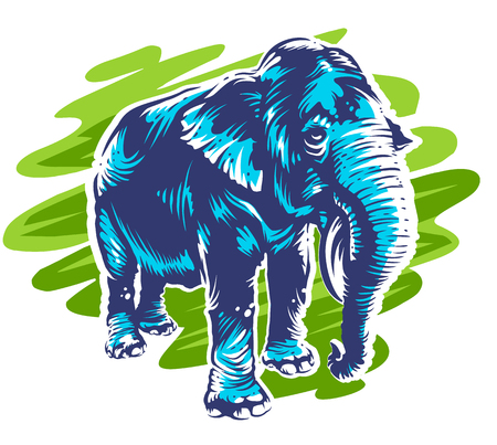Blue elephant standing on abstract green backgrount. Bright and fresh color design with elephant. Vector art. Illustration