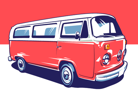 Red hippie vintage van illustration. Vector pop art illustration. 矢量图像