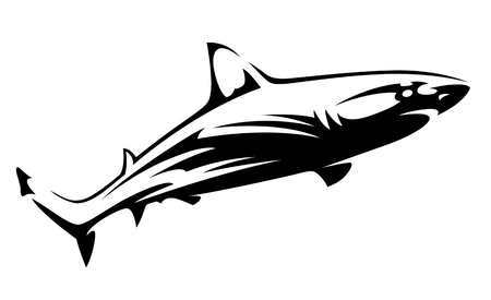 Black vector shape of shark isolated on white. Shark tattoo silhouette. Vector art.