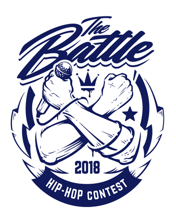 Hip-hop monochrome emblem with crossed brutal hands keeping microphone. Rap battle emblem template with hip-hop and graffiti elements. Vector art. Stock fotó - 100900740