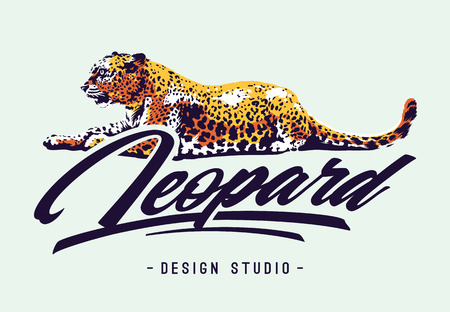 Leopard lying on white with calligraphic typography. Vector design template.