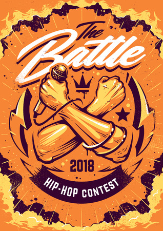 Hip-hop Battle Poster template. Design with crossed hands holding microphone and street art elements on dramatic cloud sky. Graffiti style vector art.