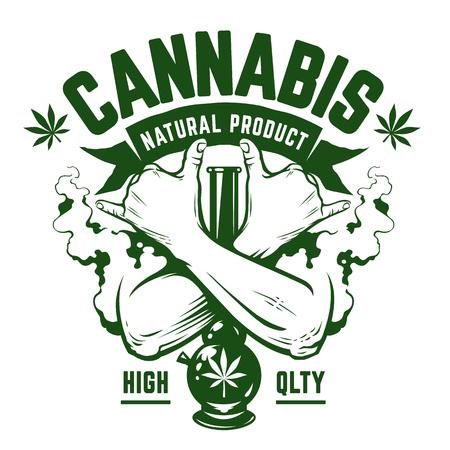 Cannabis Vector embleem. Groen zwart-wit embleem met gekruiste handen, waterpijp en rook op wit wordt geïsoleerd. Rastaman symbolen. Vector kunst.