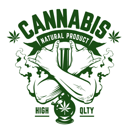 Cannabis Vector Emblem. Green monochrome emblem with crossed hands, bong and smoke isolated on white. Rastaman symbols. Vector art. Иллюстрация