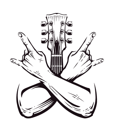 Crossed hands sign rock n roll gesture isolated with guitar neck on white. Punk rock hands sign. Vector illustration.