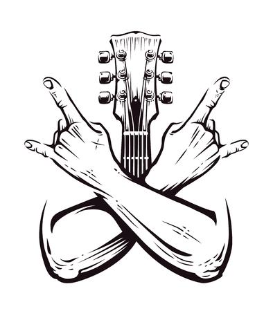 Gekruiste handen ondertekenen rock n roll-gebaar geïsoleerd met gitaar hals op wit. Punk rock handen ondertekenen. Vector illustratie.