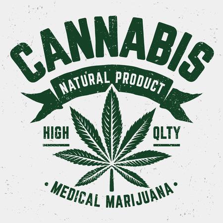 Emblème de Cannabis Grunge. Emblème monochrome patiné à l'ancienne avec feuille de marijuana. Vecteurs