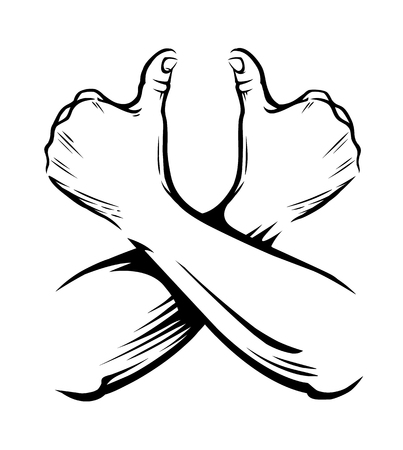 Crossed hands showing thumbs up sign vector isolated on white. Big fingers up. Like symbol. Иллюстрация