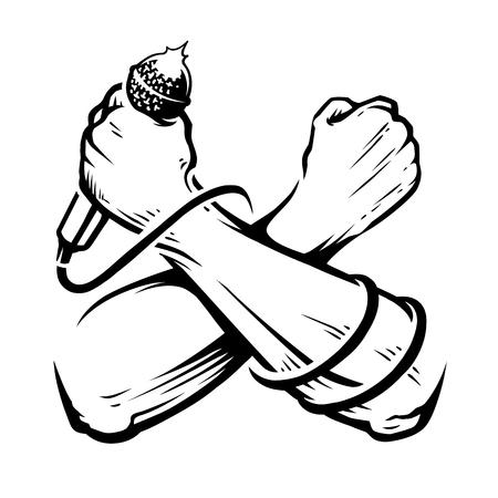 Gekreuzte Hände mit Mikrofon isoliert auf Weiß. Vektor monochrome Kunst.