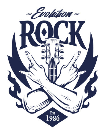 Vector emblem with crossed hands sign rock n roll gesture, guitar neck and flames. Monochrome rock emblem template. Illusztráció