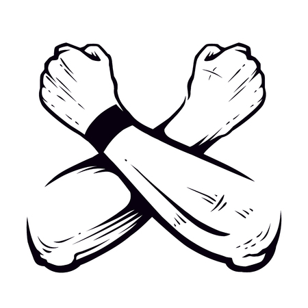 Crossed Hands Clenched in Fists Vector art isolated on white. Brutal symbol.