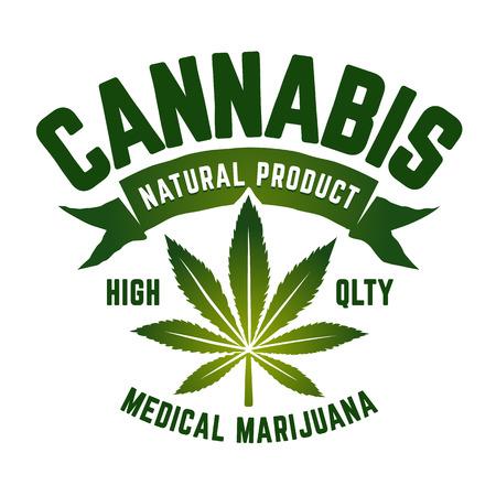 Cannabis Vector Emblem. Green emblem with marijuana leaf isolated on white.