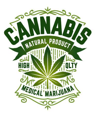 Emblème de style rétro de cannabis. Emblème vert avec feuille de marijuana, ruban et motifs vintage isolés sur blanc. Art vectoriel.