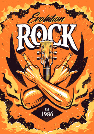 Rock Poster Design Template with crossed hands sign rock n roll gesture, guitar neck and flames on dramatic sky background.