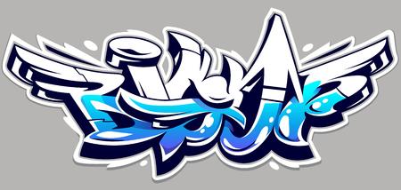 Letras de vector de color azul grande sobre fondo gris. Arte de graffiti dinámico de estilo salvaje. Ilustración abstracta de letras tridimensionales.