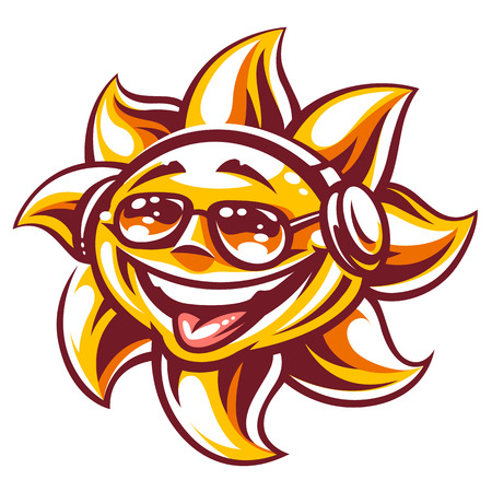 Art of happy sun in sunglasses and headphones enjoing music and summer vibes. Summer party sun character, symbol of youth and carefree. Vector illustration isolated on white. Ilustração