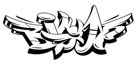 Big Up Vektorbeschriftung lokalisiert auf Weiß. Monochrome dynamische Graffiti-Kunst im wilden Stil. Abstrakte Illustration der dreidimensionalen Buchstaben. Vektorgrafik