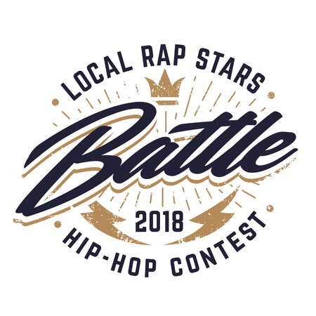 Hip-hop emblem template for rap battle. Vector emblem.